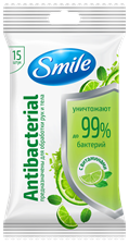 Smile Antibacterial wet wipes enriched with vitamins 15pcs.