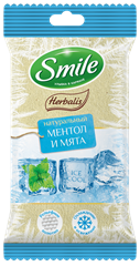 Smile Herbalis Ice Cool wet wipes enriched with menthol and mint 10pcs.